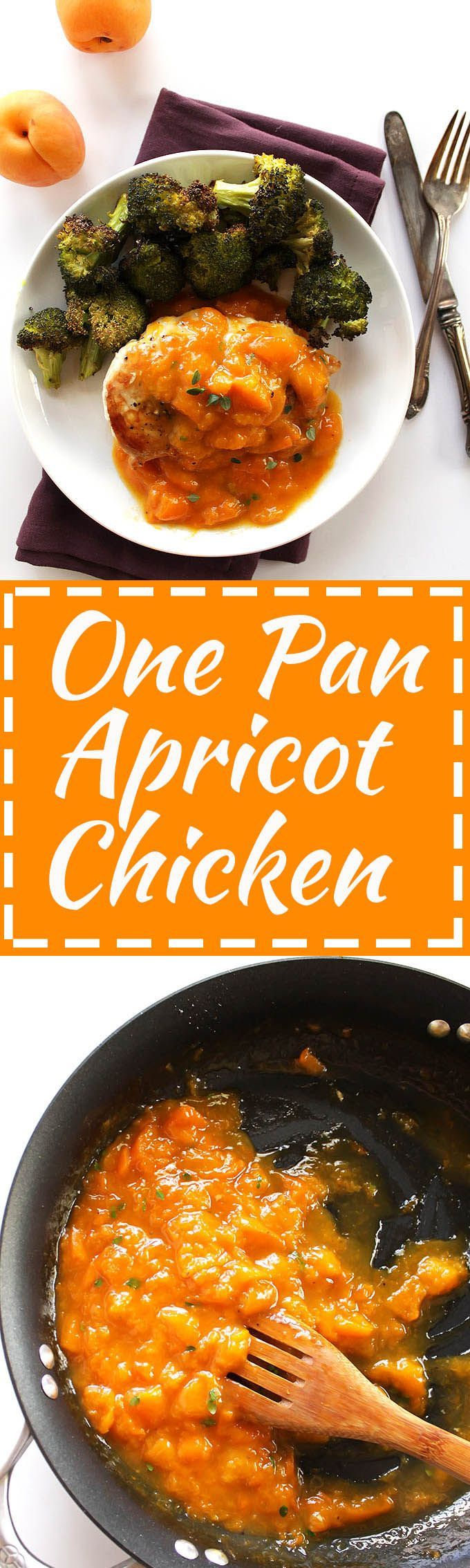 One Pan Apricot Chicken - Pan seared chicken breasts with a sweet, luscious sauce made with fresh apricots. This recipe is fancy enough for a special occasion, yet EASY enough to make for a weeknight meal. Gluten Free/Refined Sugar Free.