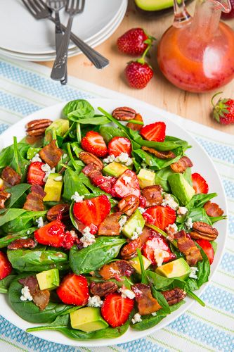 Strawberry and Avocado Spinach Salad in Raspberry Balsamic Vinaigrette ...