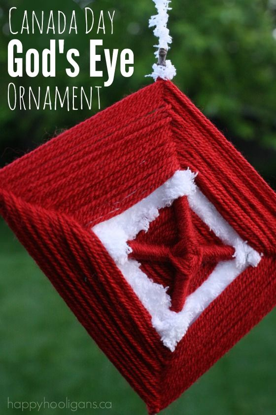 Canada Day God's Eye Ornament - a classic kids craft with yarn and sticks.  Make these easy ornaments with your kids or students when decorating for the 1st of July! - Happy Hooligans