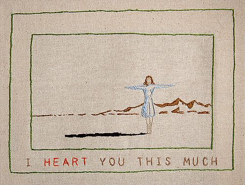 https://flic.kr/p/6186b5 | i heArt you this much..... | embroidery 10 x 7 inches  The floss belonged to my Grandmother, I've had it for over 25 years just waiting to use it.  Now I use it to draw figures on the heArt.  soon to be available at my etsy store, see profile for info