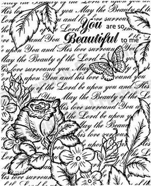 heartfelt creations HCPC 3397 Bella Rose Vintage Background PreCut Set use with HCD 712 die and the HCD 701 die to cut out this image.