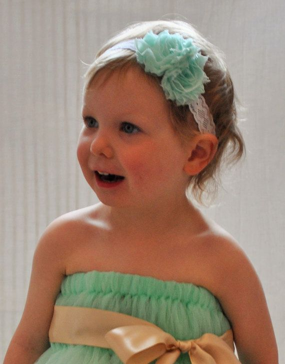 Mint Flowergirl tutu dress with Gold sash ribbon by BeautifulGreys, £34.00