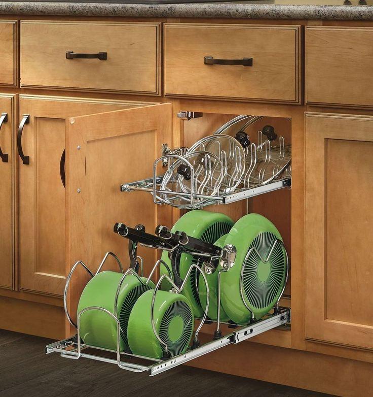Pull Out Cabinet Cookware Organizer Kitchen Pan Pot Lid Storage Holder 2 Tier | Home & Garden, Kitchen, Dining & Bar, Kitchen Storage & Organization | eBay!