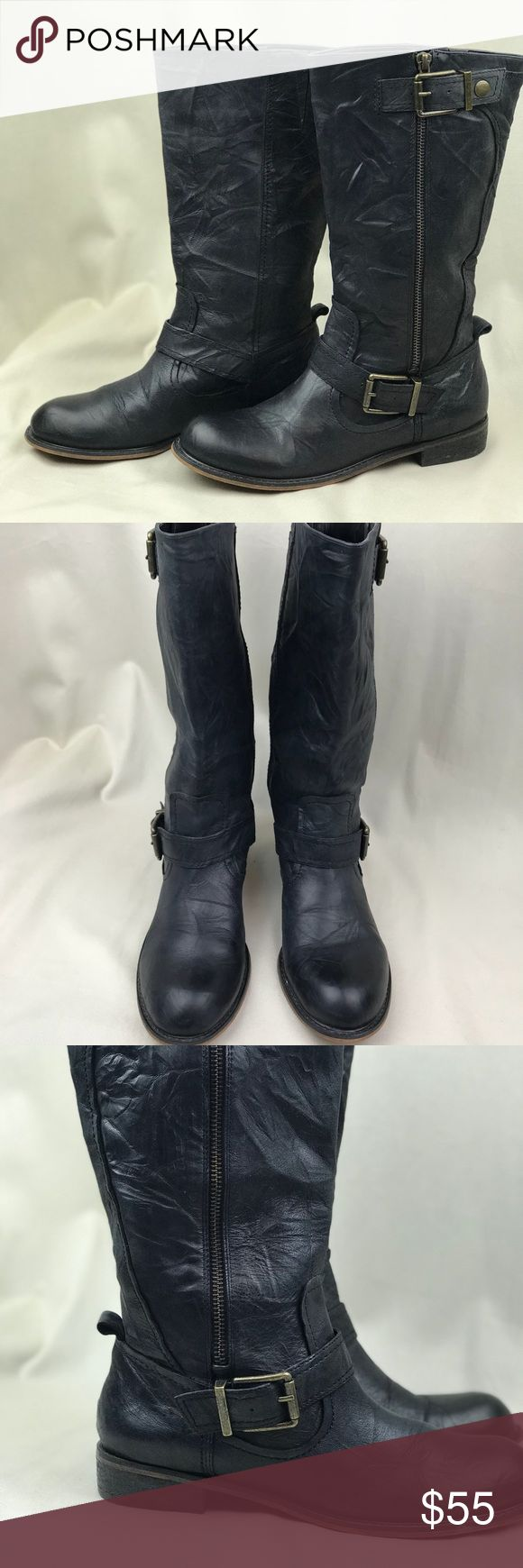 Gianni Bini  Calf Leather Boots Size 7M Pre-owned Very good pre-owned condition. Slight scuffing on heels and toes from normal wear. See pics. Clean inside. 1-inch heels. Gianni Bini Shoes Combat & Moto Boots