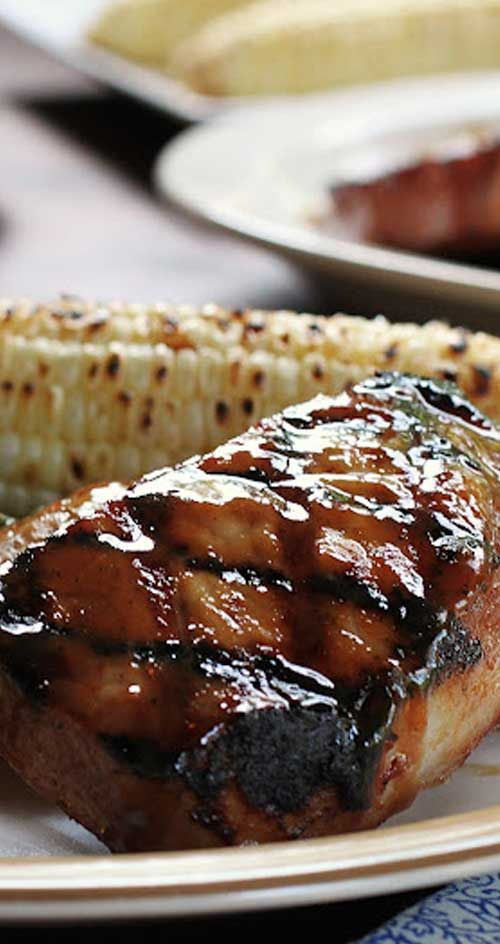 Recipe for Bourbon Glazed Pork Chops - Pork chops drowned in a boozy sauce, so good you will want to lick the plate!
