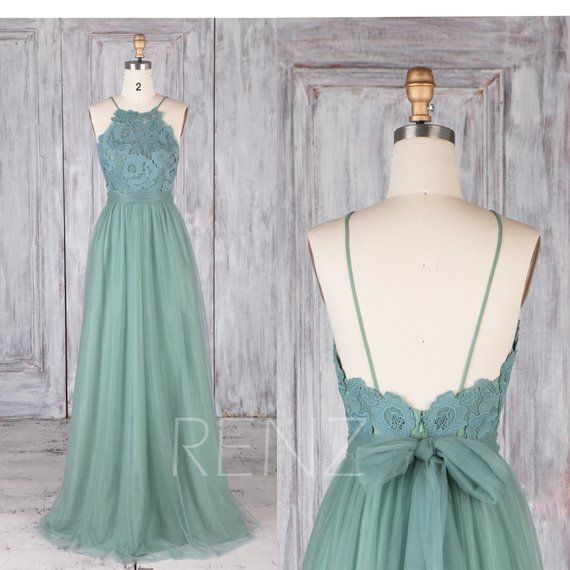 Bridesmaid Dress Dusty Green Tulle Wedding Dress Illusion Lace Prom Dress Spaghetti Strap Maxi Dress Open Back A-Line Party Dress(LS472)