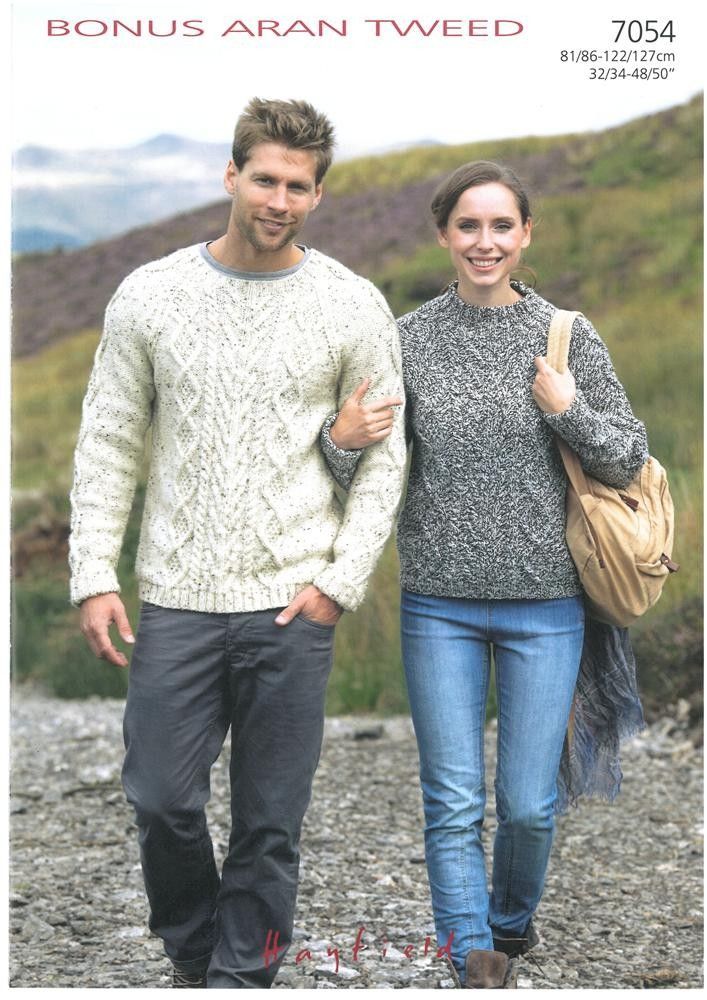 Mens and Ladies Sweaters in Hayfield Bonus Aran Tweed