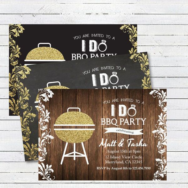 One of the most popular engagement party themes is a backyard barbecue. But this casual get together can totally still have a sparkly invite. We adore this golden grill! Select either a chalkboard, black, or wooden backdrop depending upon your style preferences, but all are equally rustic-chic.