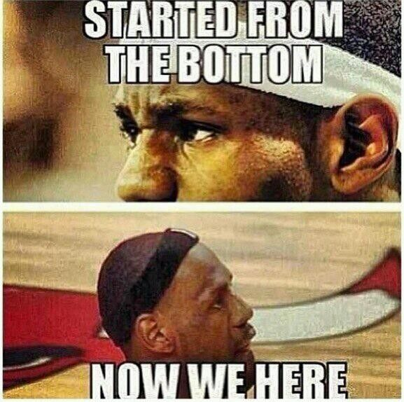 LeBrons hairline started from the bottom now we here..