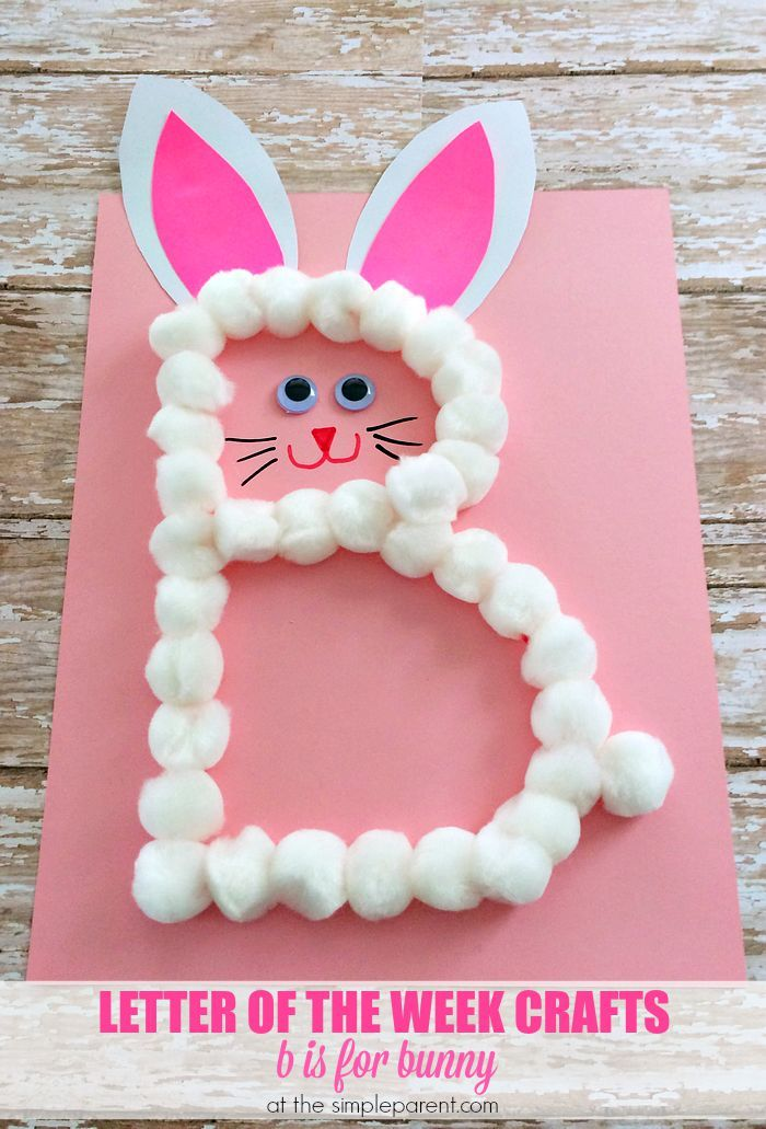 B is for bunny Easter craft for kids