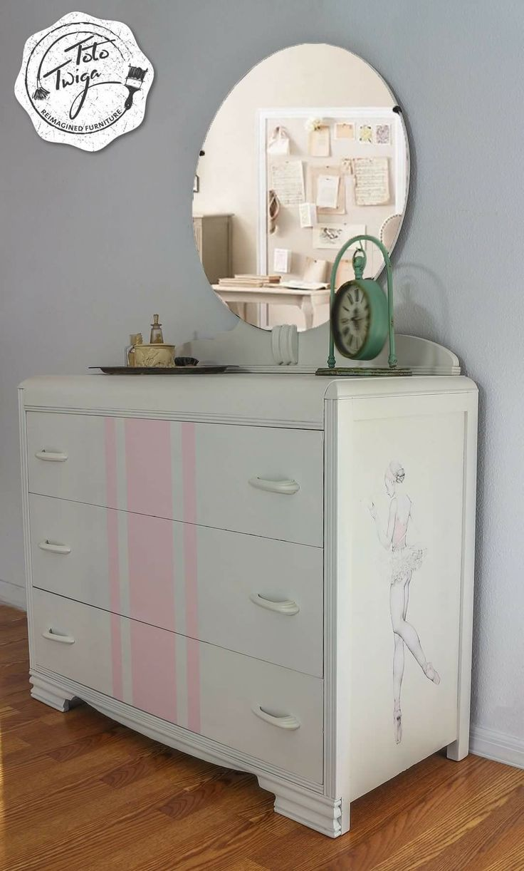 The sweetest Art Deco waterfall dresser for your little ballerina. Comes  with its original mirror and drawer hardware. Painted with General Finishes  antique ...