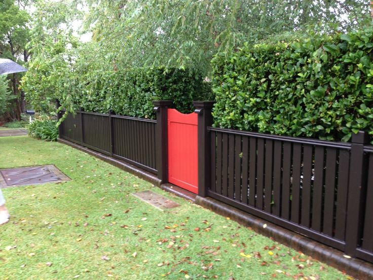front fence with a colored gate