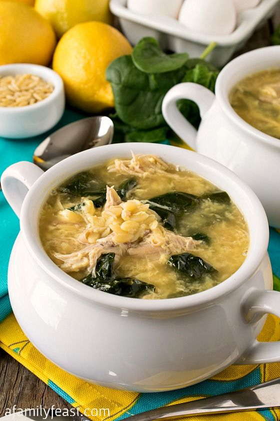 Greek Lemon Chicken Soup with Orzo - A delicious, easy soup with bright and savory flavors!