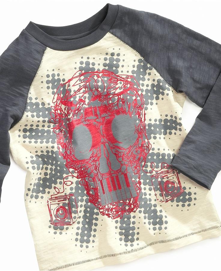 Flapdoodles Kids T-Shirt, Little Boys Rock Skull Raglan Tee - Kids - Macy's