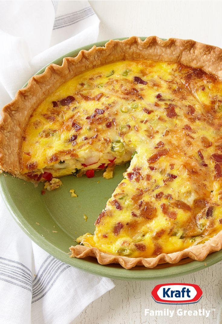 Bacon and Cheese Quiche Recipe -Start out your Easter brunch festivities with our scrumptious Bacon and Cheese Quiche Recipe. Our Bacon and Cheese Quiche Recipe is made with a frozen pie crust for an easy springtime recipe prep.