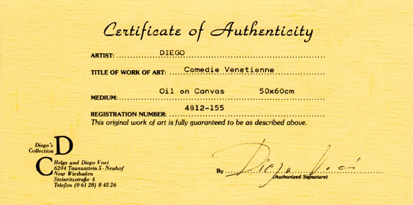 """#DiegoVoci™ The 1st found """"Diego Voci"""" signature in a document.  Certificate of Authenticity for """"Comedie Venetienne""""."""
