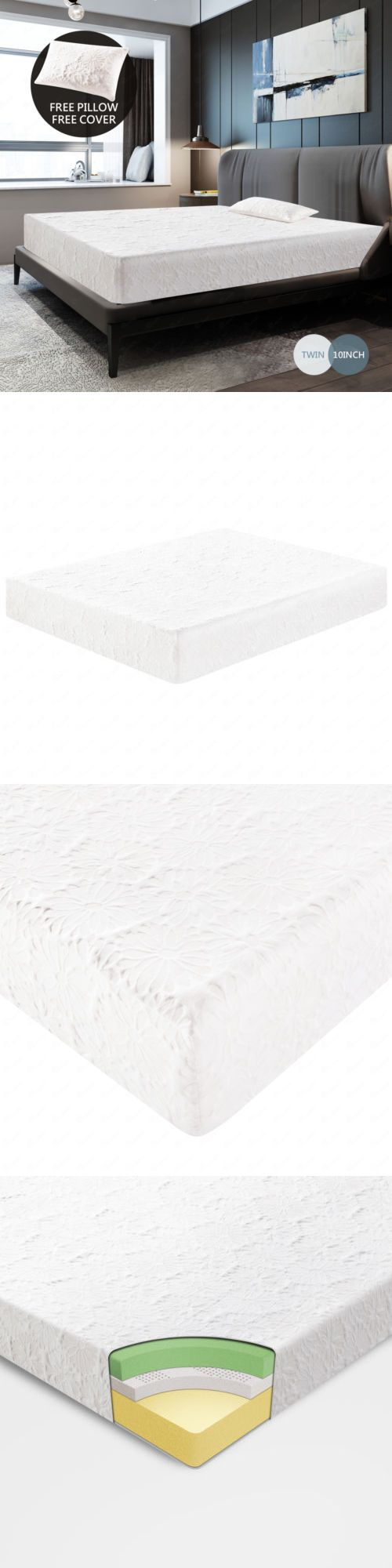 Mattress Pads and Feather Beds 175751: 10 Inch Memory Foam Bed Mattress Cool  And Gel