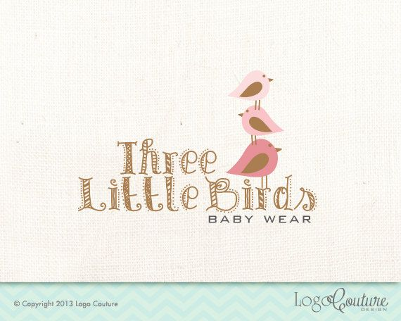 Premade Baby Wear Logo - Custom Logo - Three Little Birds - Brown - Baby Clothing Store - Logo for Baby Cloths