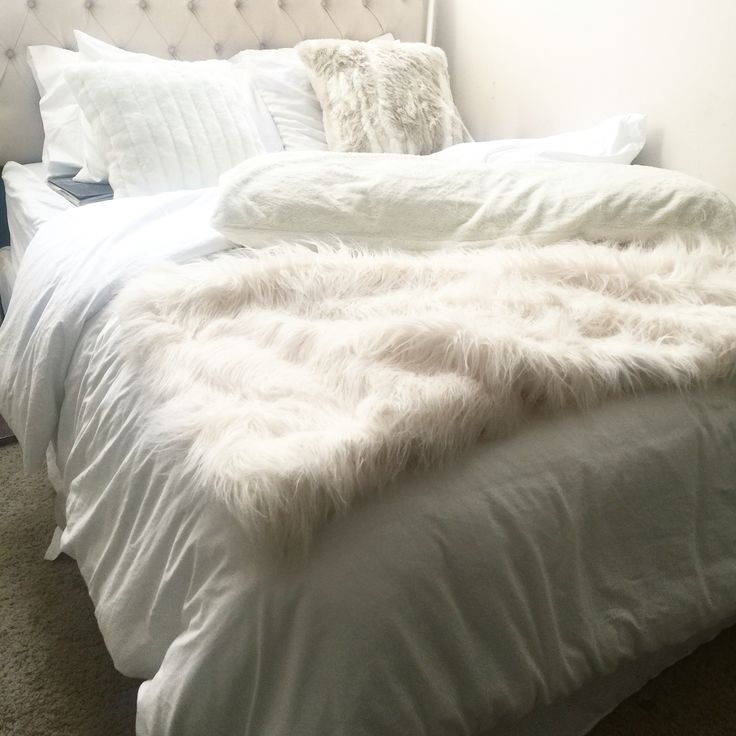 All white bedding bedroom and bedding pinterest faux for White fur bedroom