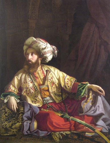 The Emir from Lebanon, 1843 by Jozsef Borsos (Hungarian 1821-1883).......The Emir is actually Count Edmund Zichy (1811-1894) who spent most of his life in Vienna as a passionate art collector and  leading figure in the art life of Vienna and Pest.......