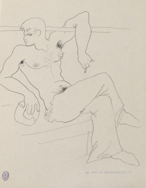 Jean Cocteau (French, 1889-1963), Marin à la cigarette [Sailor with cigarette]. Pencil on paper, 27 x 21cm.