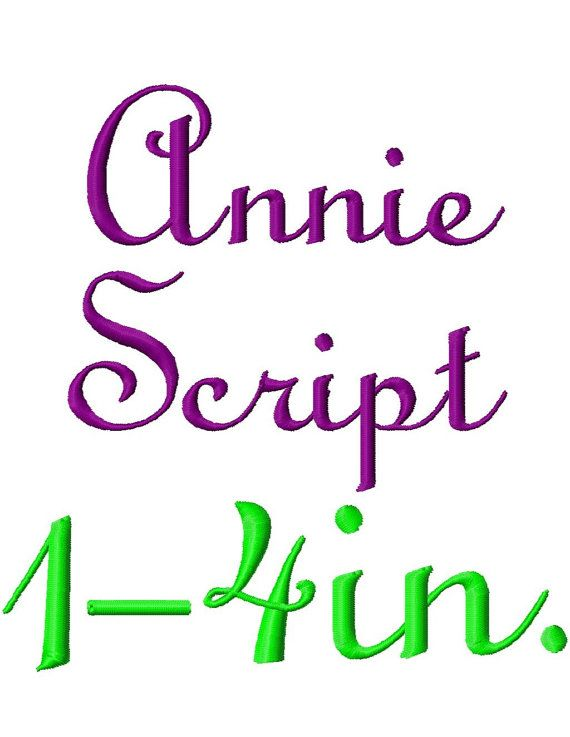 "Annie Script Machine Embroidery Font - Sizes 1"",2"",3"",4"" BUY 2 get 1 FREE on Etsy, $5.50"