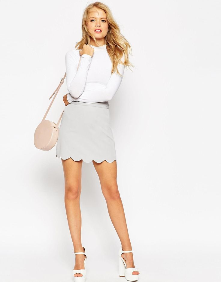 Image 1 of ASOS A-Line Mini Skirt with Scallop Hem