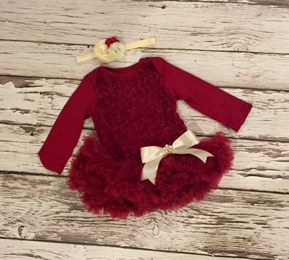 Baby girl Christmas outfit. Baby girl first by KadeesKloset