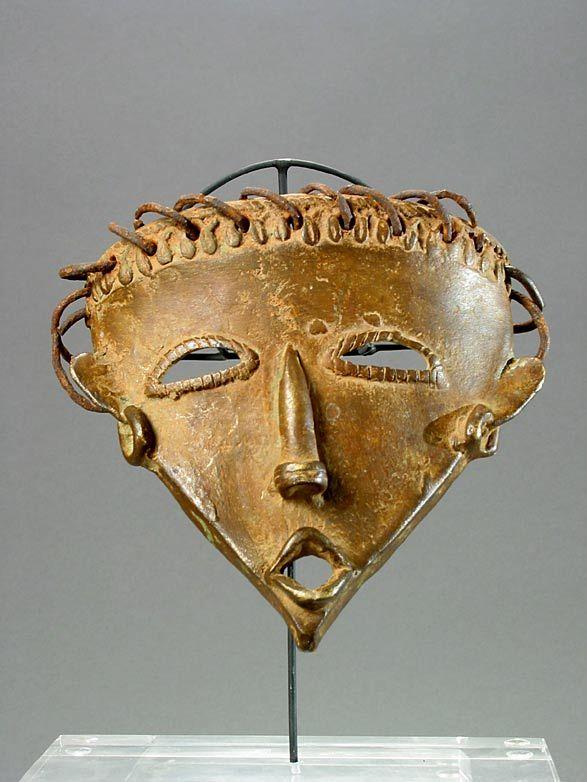 """Bambara Brass Mask - Central Mali, 20 th Century AD, 5.25"""" (13.3cm) high."""