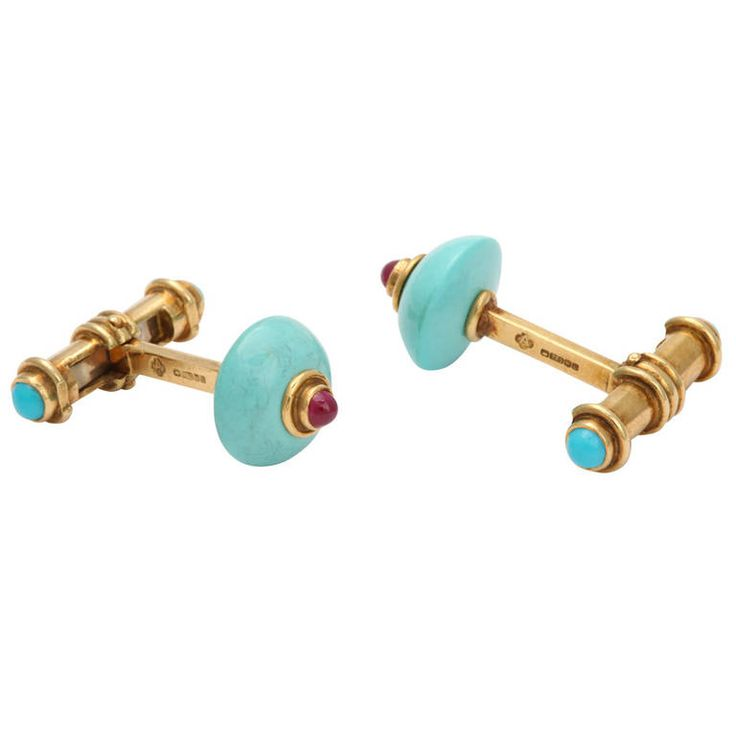 Asprey 1990s Turquoise Ruby Gold Cufflinks | From a unique collection of vintage cufflinks at https://www.1stdibs.com/jewelry/cufflinks/cufflinks/