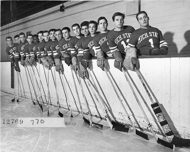 1951 Michigan State Hockey Team by Michigan State University Archives, via Flickr
