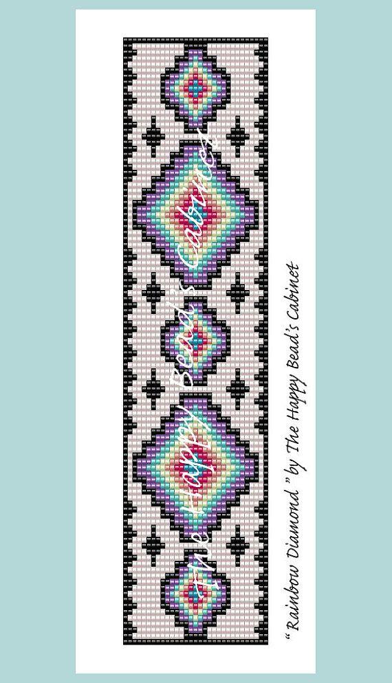 "Bead Loom Pattern , ""Rainbow Diamond"" - INSTANT DOWNLOAD PDF , bracelet, cuff…"