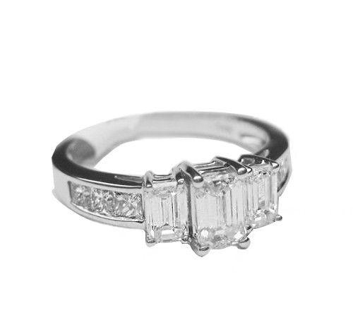 1.50CT Emerald and Princess Cut 3 Stone Diamond Ring G VS 14K White Gold -IDJ012364