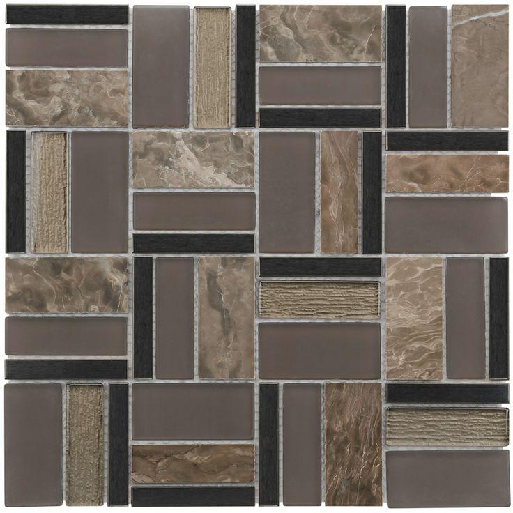 Mineral Tiles Elegant Taupe Glass Stone