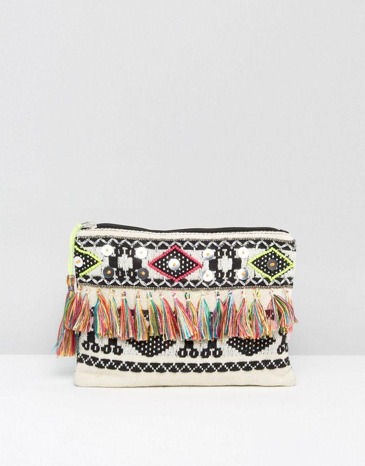 Boohoo+Aztec+Embellished+Tassle+Clutch+Bag