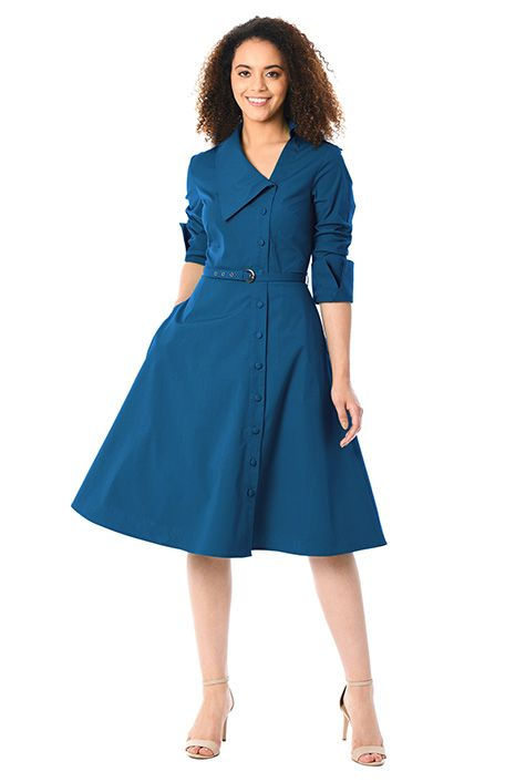 Side button front poplin shirtdress #eShakti