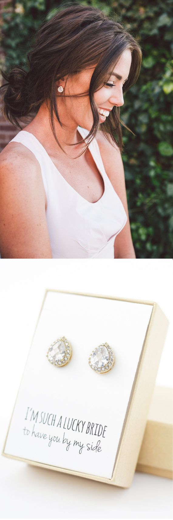 Your bridesmaids will LOVE these gorgeous sparkly teardrop earrings! Available in gold, rose gold, and silver!