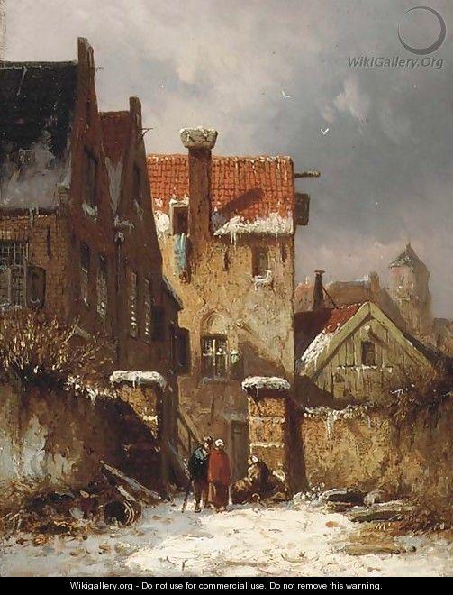 Figures conversing in a Dutch town in winter - Adrianus Eversen