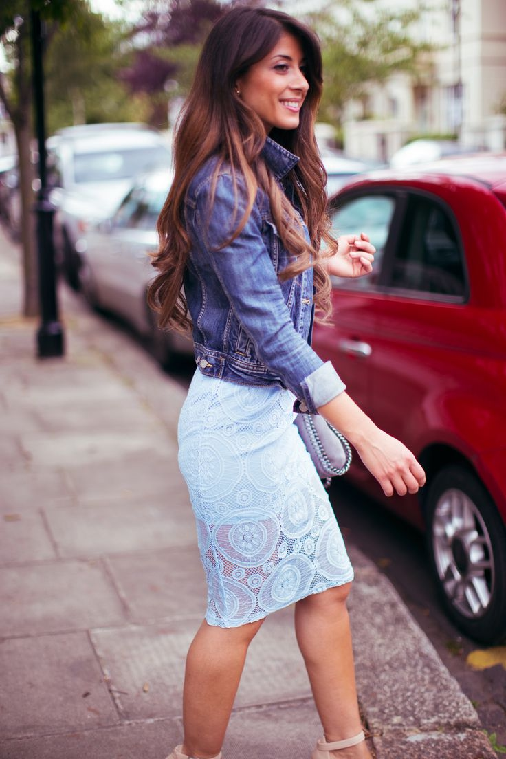 Summer fashion , lace skirt , pastels | Outfit details: lace skirt - ASOS , denim jacket - Aritzia , bag - Stella McCartney , sandals - Daily Look