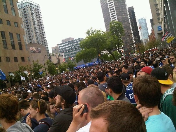 Stanley Cup playoffs in downtown Vancouver! Very crowded but very cool!