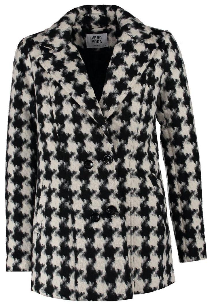 Vero Moda Krótki płaszcz w pepitke pepitka czarny biały black