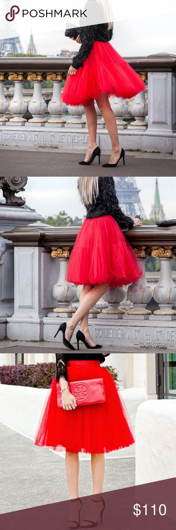 """Valentine Red Tulle Skirt Coming Soon. Red Valentine tulle skirt. Perfect for proms, bridal showers, photoshoots or a day out. Features 4 layers of tulle. 25"""" length.    Measurements  S: Waist- 25"""" (size 0-2) M: Waist- 27.5"""" (size 2-4) L: Waist- 29"""" (size 4-6) XL: Waist- 30.5"""" (size 6-8)  ✨""""Buy Now"""" or """"Add to Bundle"""" to purchase✨ Jennifer's Chic Boutique Skirts Midi"""