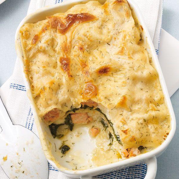 Fisch-Lasagne mit Spinat
