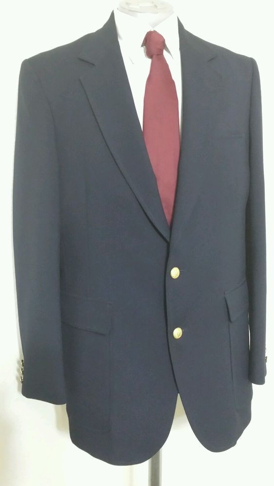 Men's Hardwick Clothes for Hesse's Navy Blue Classic 2 Button Blazer 44L #Hardwick #TwoButton