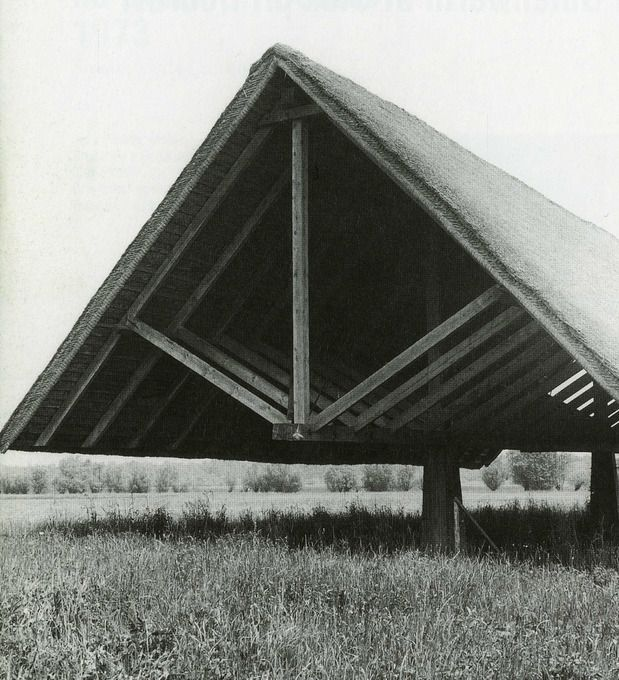 Oton Jugovec, Floating Roof (1970). Cover for Archaeological Findings of the Gutenwerth medieval settlement at Otok Pri Dobravi, the region of Dolenjska. The field and the ruins of the old church remain almost intact. The old walls are sunk below the ground level. Two columns, representing the point of contact between the roof and the ground, bear a wooden pole construction with steel diagonals, supporting the slender construction of a thatched roof. form, geometry.