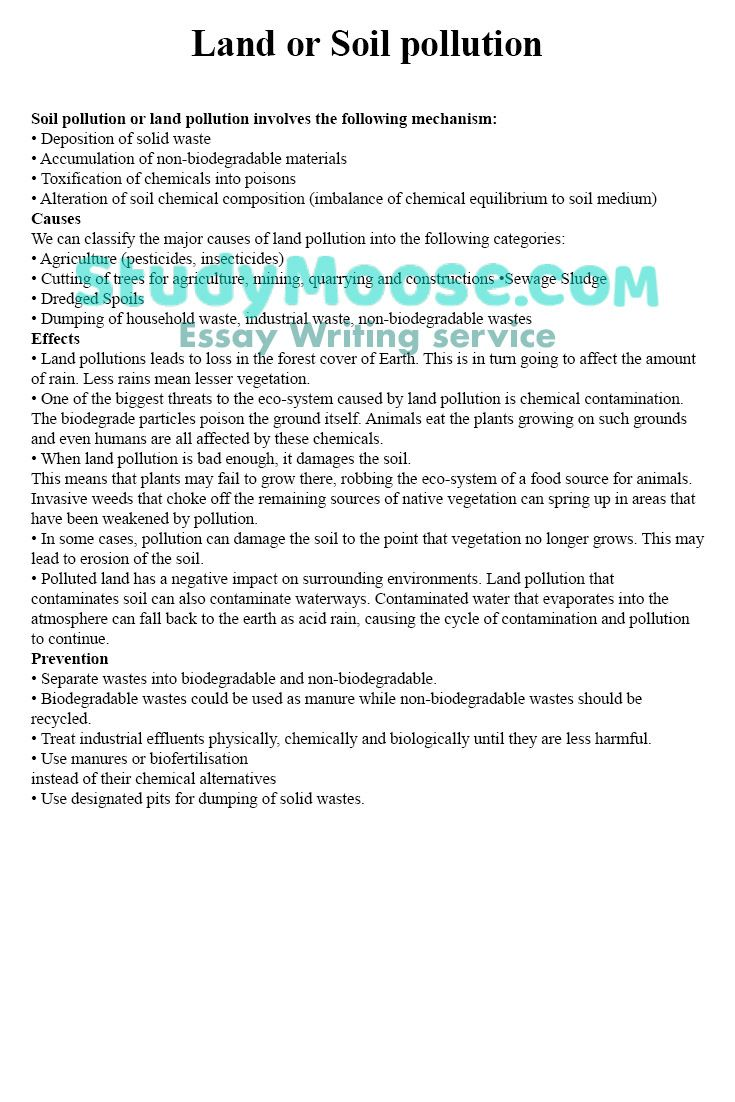 Land Or Soil Pollution College Essay Writing Services