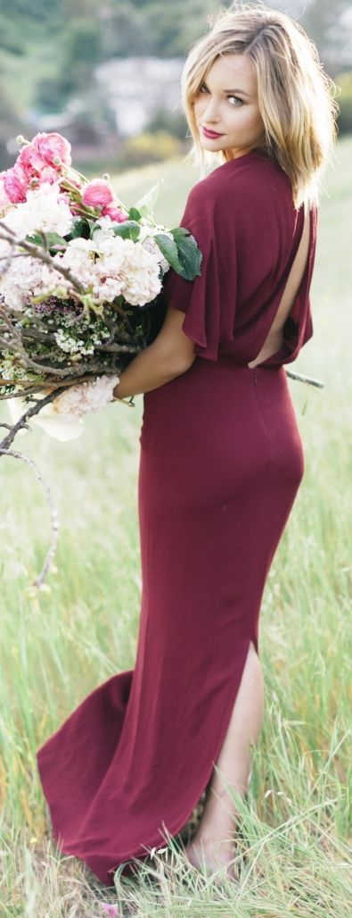 Open Back Burgundy Maxi Inspiration Dress by Late Afternoon