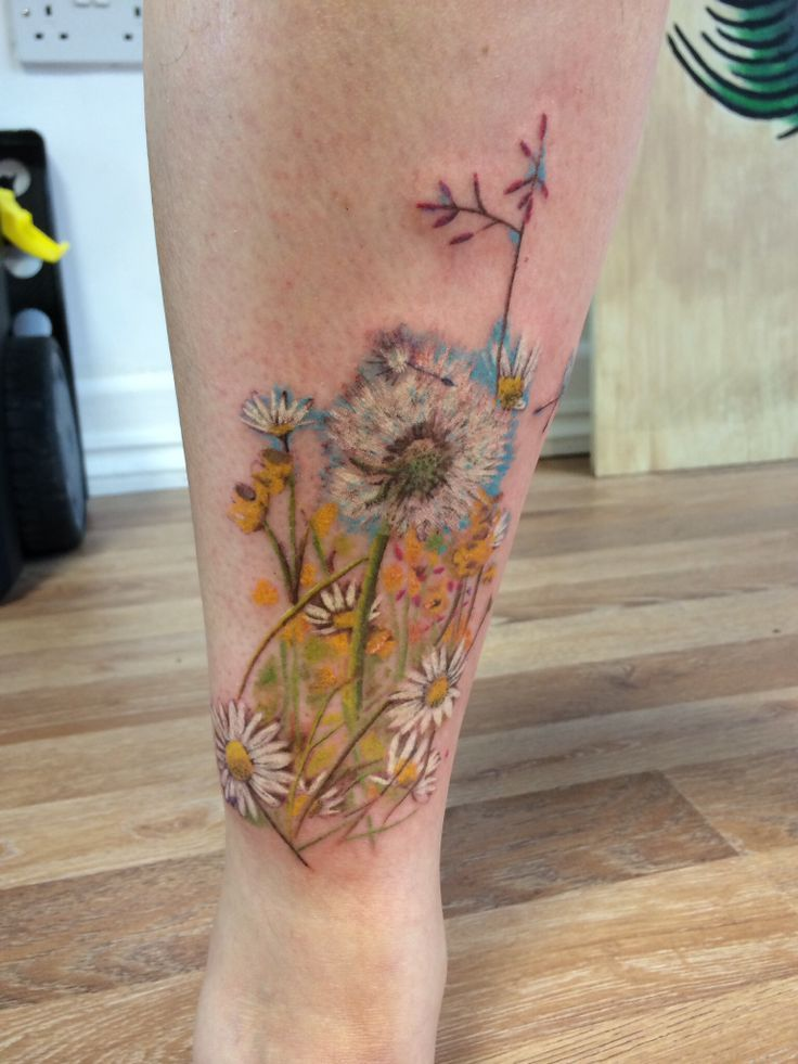wild flower tattoo by Mark Hardy Victory Tattoo Lytham St ...