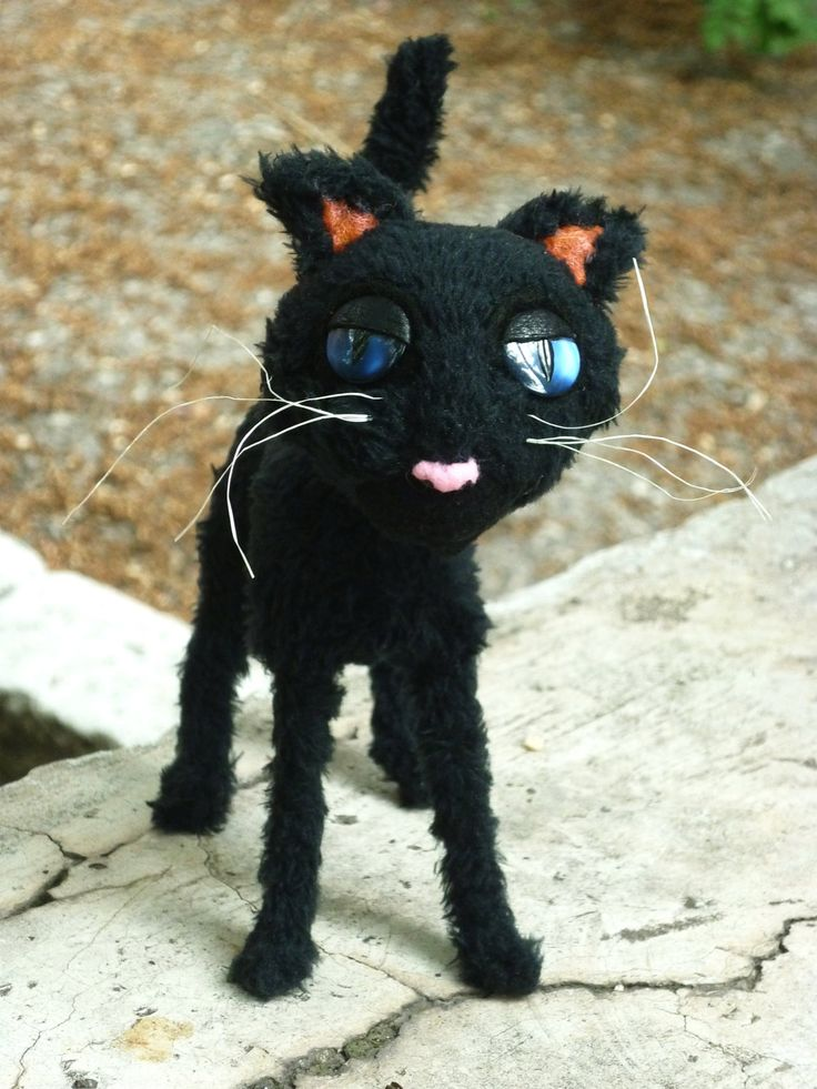 Coraline cat plush toy by SincereMasterpieces on Etsy