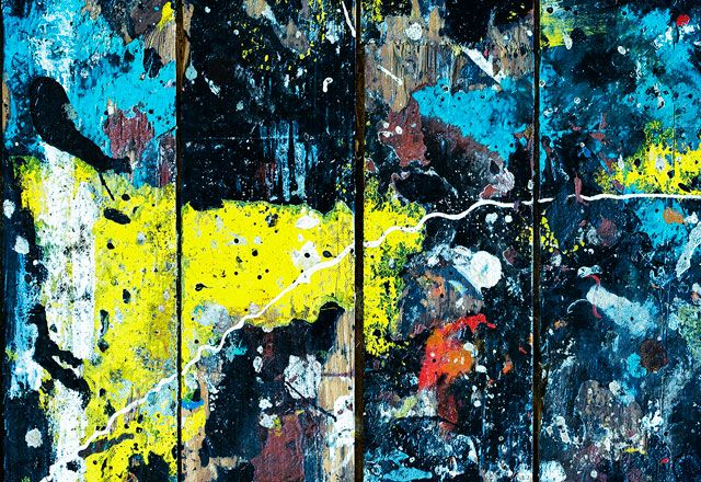 Jackson Pollock 4, from floor boards in Jackson Pollocks house while he was creating his art by Robert Weingarten
